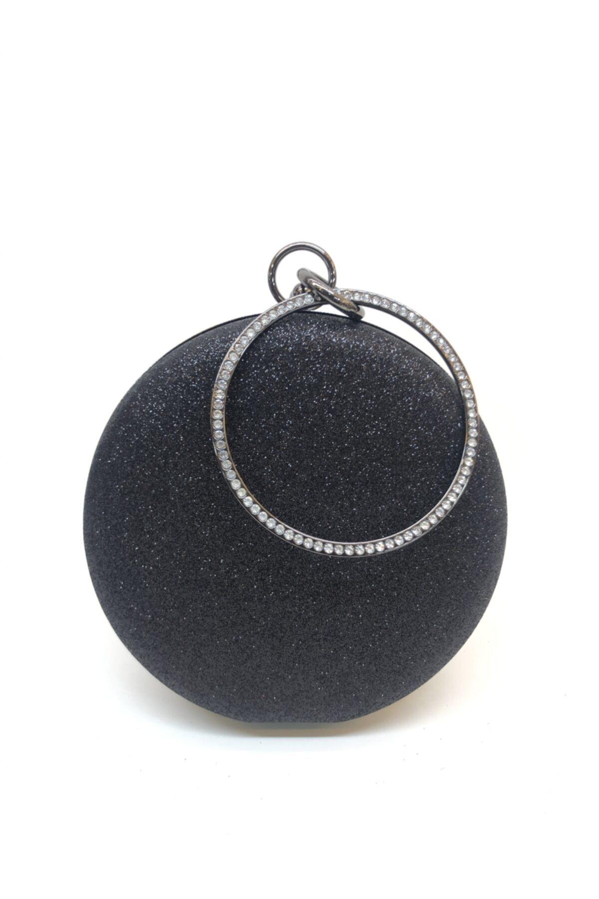 Kadın Simli Siyah Renk Taşlı Abiye Portföy Clutch Çanta