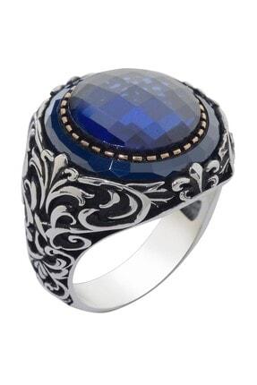 Anı Yüzük Mavi Taş Çevrili Fasetli Mavi Zirkonlu Gümüş Erkek Yüzük 0