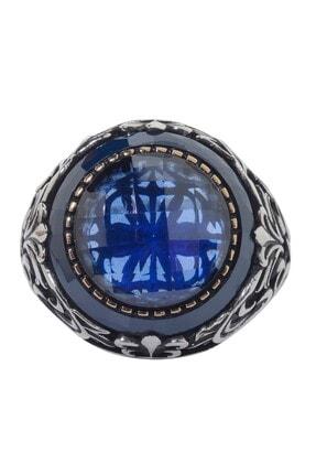 Anı Yüzük Mavi Taş Çevrili Fasetli Mavi Zirkonlu Gümüş Erkek Yüzük 1