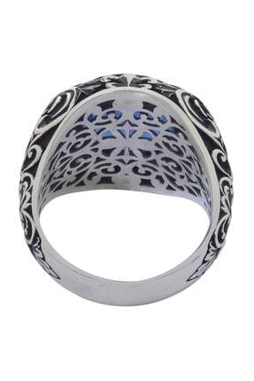 Anı Yüzük Mavi Taş Çevrili Fasetli Mavi Zirkonlu Gümüş Erkek Yüzük 2