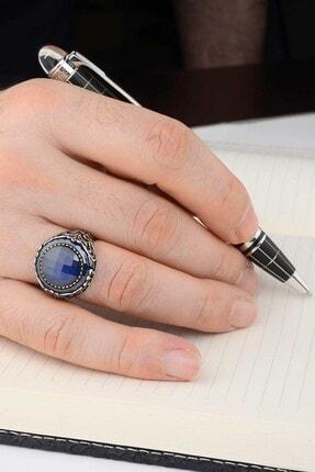 Anı Yüzük Mavi Taş Çevrili Fasetli Mavi Zirkonlu Gümüş Erkek Yüzük 3