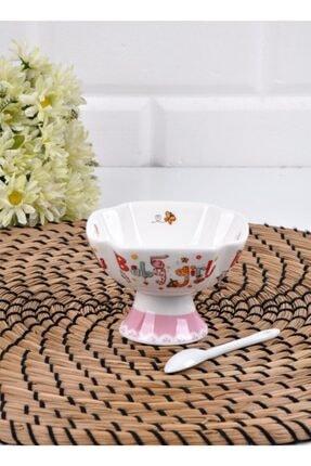 Lora Paçi 12 Parça Beyaz Porselen Kaşıklı Küçük Kare Dondurmalık (p-por-100726) 2