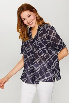 Kadın Lacivert Halat Desenli Kısa Kollu Vual Gömlek 60076 u60076