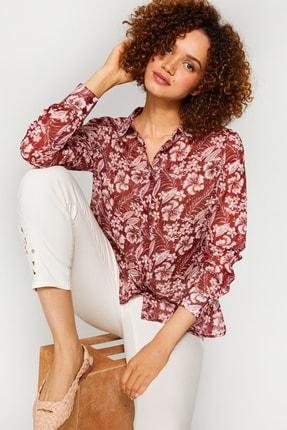 Kadın Bordo Çiçek Desenli Monochrom Vual Gömlek 60082 u60082 resmi