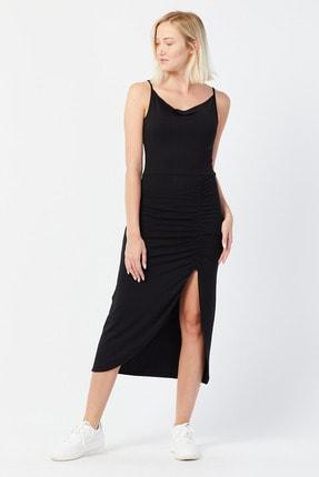 UNV COLLECTION Kadın Ince Askılı Yırtmaç Detaylı Elbise 1