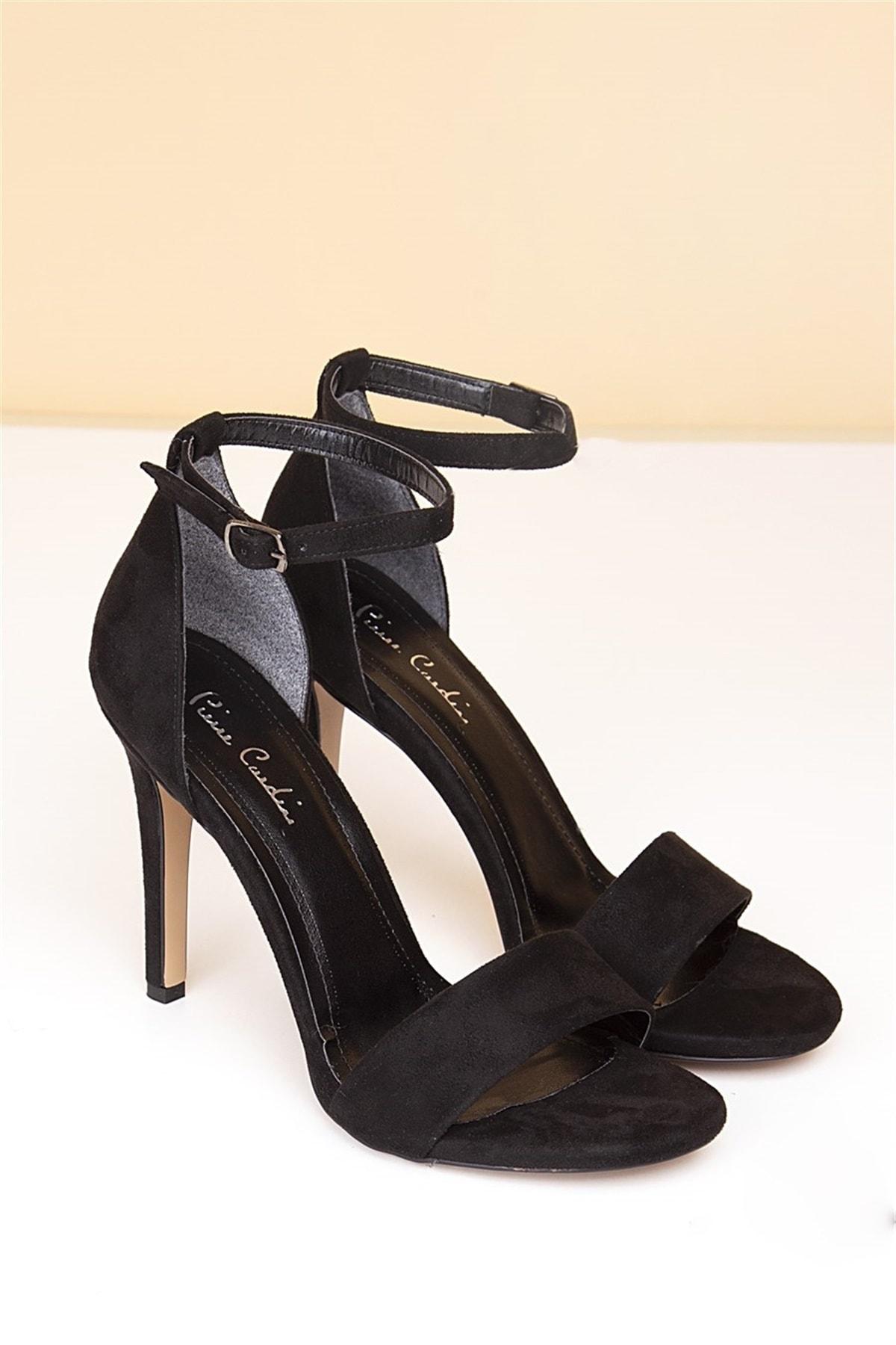 Pierre Cardin Kadın Topuklu Ayakkabı-Süet Siyah