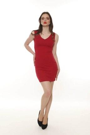 Moda Feminen Kadın Ön Arka V Yaka Kalem Elbise 1