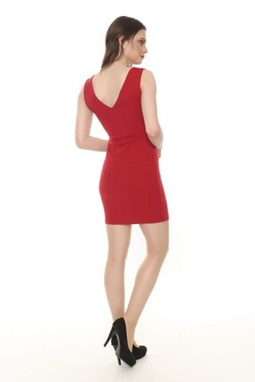 Moda Feminen Kadın Ön Arka V Yaka Kalem Elbise 4