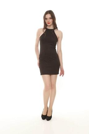 Moda Feminen Kadın Siyah Düz Kalem Elbise 0
