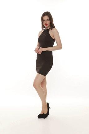 Moda Feminen Kadın Siyah Düz Kalem Elbise 1