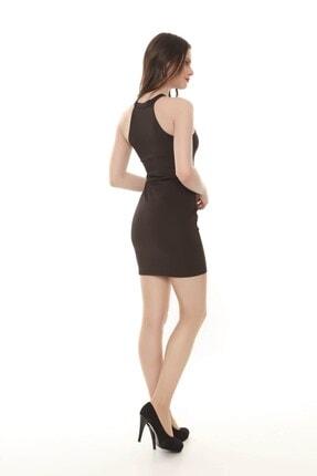 Moda Feminen Kadın Siyah Düz Kalem Elbise 4