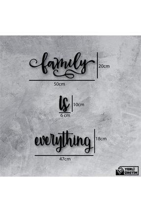 NCS Ahşap Sanat Atölyesi Dekoratif Ahşap Tablo Family Is Everything Duvar Yazı 1
