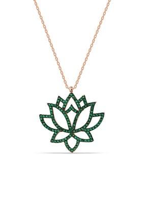 Yeşil Taşlı Gümüş Lotus Çiçeği Kolye MYS8758