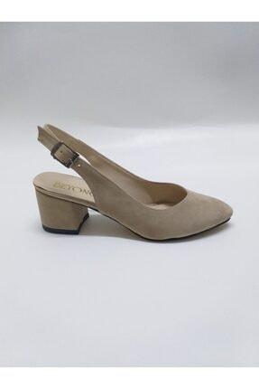 Kadın Vizon Rengi Arkası Açık Süet Topuklu Ayakkabı Vzn12