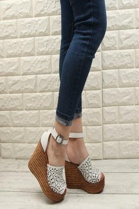 Fame Step Kadın Beyaz Hakiki Deri Dolgu Topuklu Ayakkabı 1
