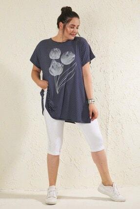 Siyezen Lacivert Büyük Beden Salaş Çizgili Lale Baskılı T-shirt 2