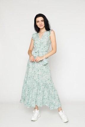 EPULİMO Kadın Mint Yeşili Kruvaze Yaka Kuşaklı Kısa Kol Viskon Elbise 0