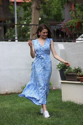 EPULİMO Kadın Mavi Kruvaze Yaka Kusaklı Kısa Kol Viskon Elbise Mcg 621 1