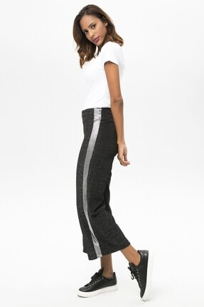 4over4 Kadın  Siyah Yanları Şeritli Yüksek Bel Pantolon 0