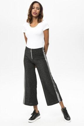 4over4 Kadın  Siyah Yanları Şeritli Yüksek Bel Pantolon 1