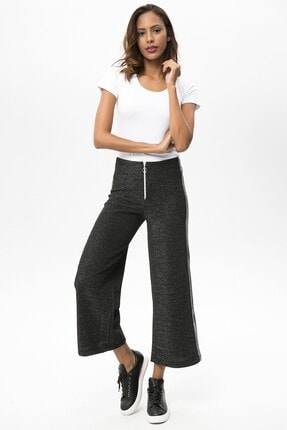 4over4 Kadın  Siyah Yanları Şeritli Yüksek Bel Pantolon 2