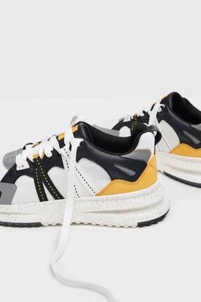 Bershka Erkek Beyaz File Şeritli Spor Ayakkabı 2