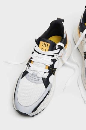 Bershka Erkek Beyaz File Şeritli Spor Ayakkabı 3