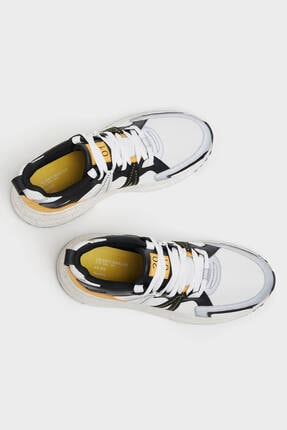 Bershka Erkek Beyaz File Şeritli Spor Ayakkabı 4