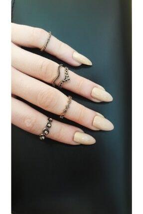 Mysoho Accessories Kadın Vintage Gold Eklem Yüzüğü 5 Adet 0