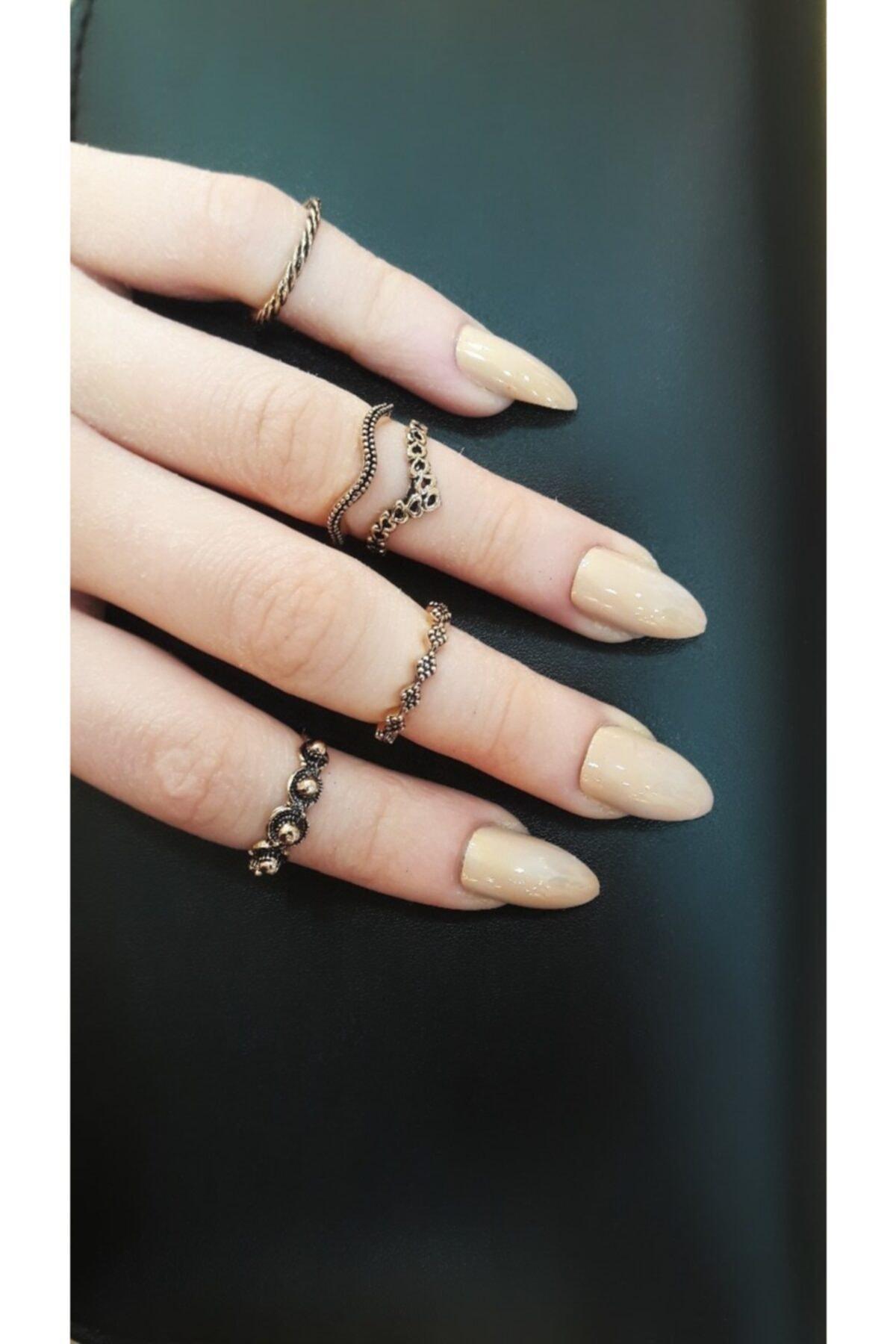 Kadın Vintage Gold Eklem Yüzüğü 5 Adet