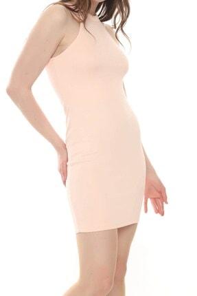 Moda Feminen Kadın Pembe Düz Kalem Elbise 4