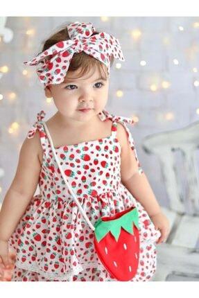 Buse&Eylül Bebe Kız Çocuk Kırmızı Çilek Desenli Terikoton Kumaş Çantalı Bandanalı Elbisesi 2