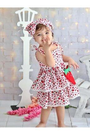 Buse&Eylül Bebe Kız Çocuk Kırmızı Çilek Desenli Terikoton Kumaş Çantalı Bandanalı Elbisesi 3