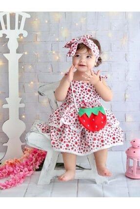 Buse&Eylül Bebe Kız Çocuk Kırmızı Çilek Desenli Terikoton Kumaş Çantalı Bandanalı Elbisesi 4