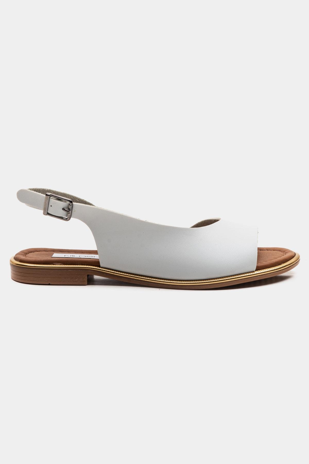 Niloshka Swet White Gova Vaketa Deri Sandalet