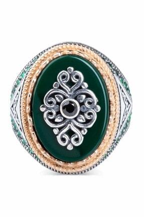 Anı Yüzük Üçgen Motifli Yeşil Zirkon Taşlı Gümüş Erkek Yüzük 1
