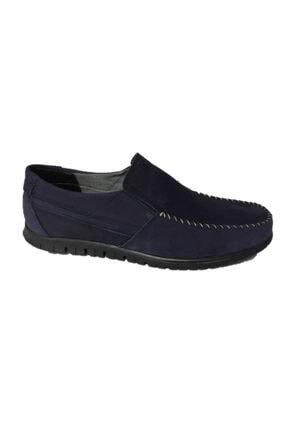 DMR Erkek Lacivert Hakiki Gerçek Nubuk Deri Bağcıksız Hafif Loafer Ayakkabı 0