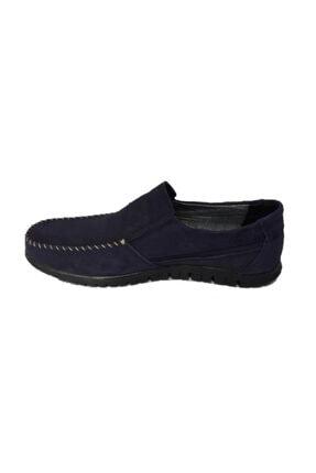 DMR Erkek Lacivert Hakiki Gerçek Nubuk Deri Bağcıksız Hafif Loafer Ayakkabı 3