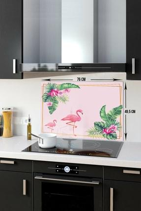 Decorita Tropik Yapraklar & Flamingo   Cam Ocak Arkası Koruyucu   49,5cm x 76cm 0
