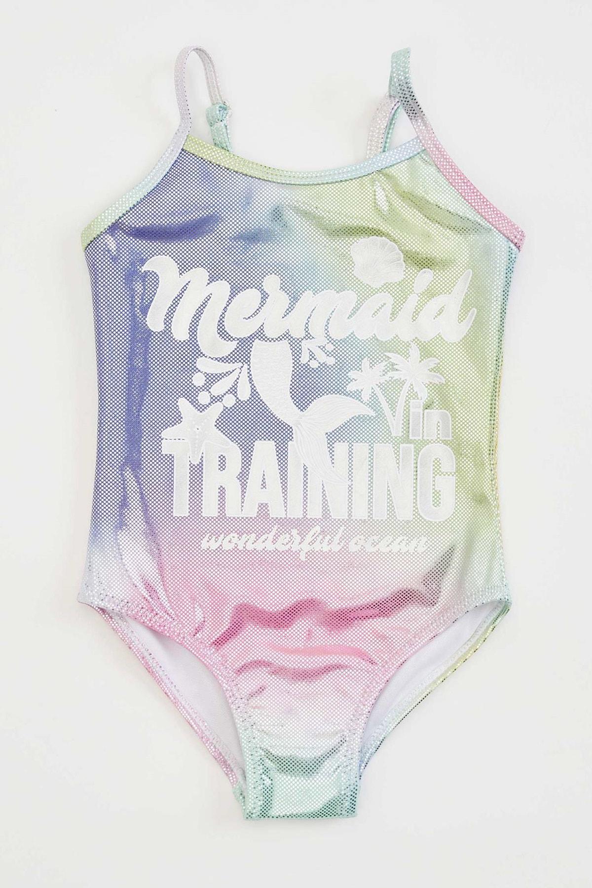 Kız Bebek Desenli Esnek Dokulu Mayo