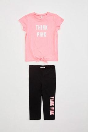 Defacto Kız Çocuk Baskılı T-shirt Tayt Takım 0