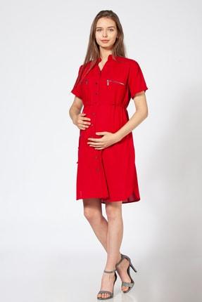 BUSA Kadın Kırmızı Düğmeli Hamile Günlük Elbise 0