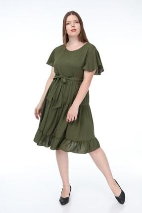 تصویر از Kadın Büyük Beden Fırfır Katlı Yarım Kol Elbise Haki