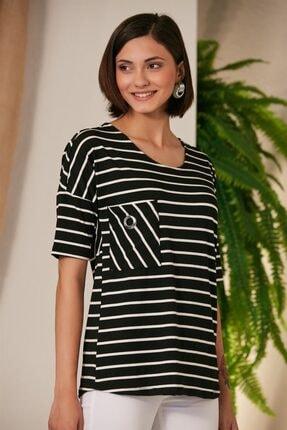 Rmg Kadın Çizgili Siyah T-Shirt 0