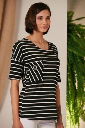 Rmg Kadın Çizgili Siyah T-Shirt 1