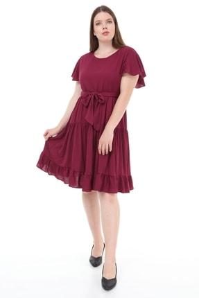 Kadın Büyük Beden Fırfır Katlı Yarım Kol Elbise Mor resmi