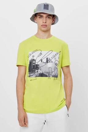Bershka Erkek Sarı Grafiti Baskılı T-Shirt 1