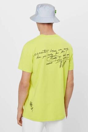 Bershka Erkek Sarı Grafiti Baskılı T-Shirt 2