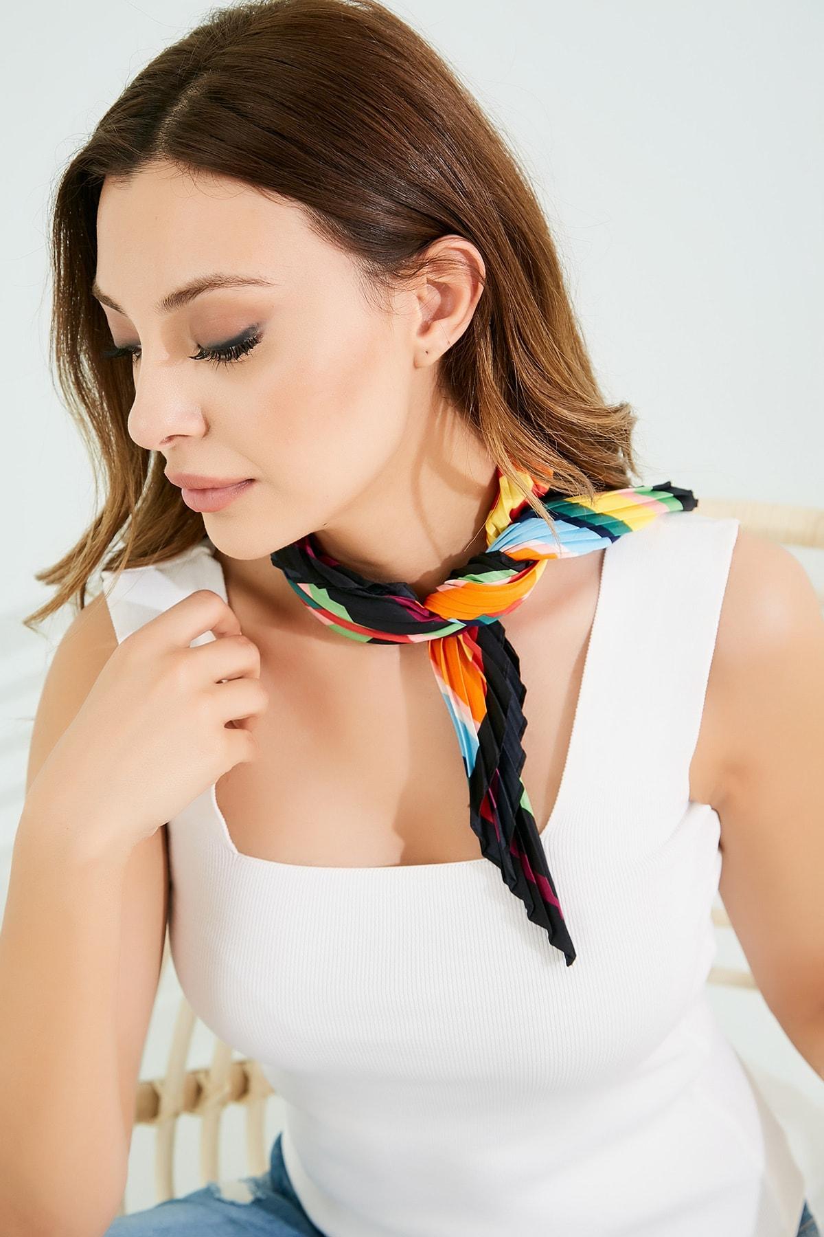 Sateen Kadın Renkli Piliseli Fular Stn826Kfl101 1