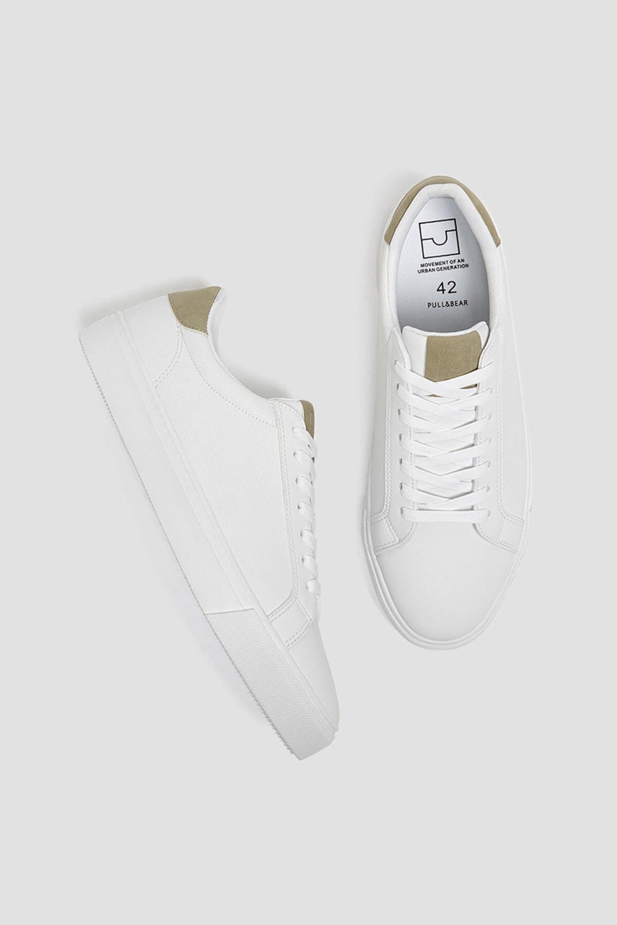 Pull & Bear Erkek Beyaz Mikro Delikli Spor Ayakkabı 12204640 2